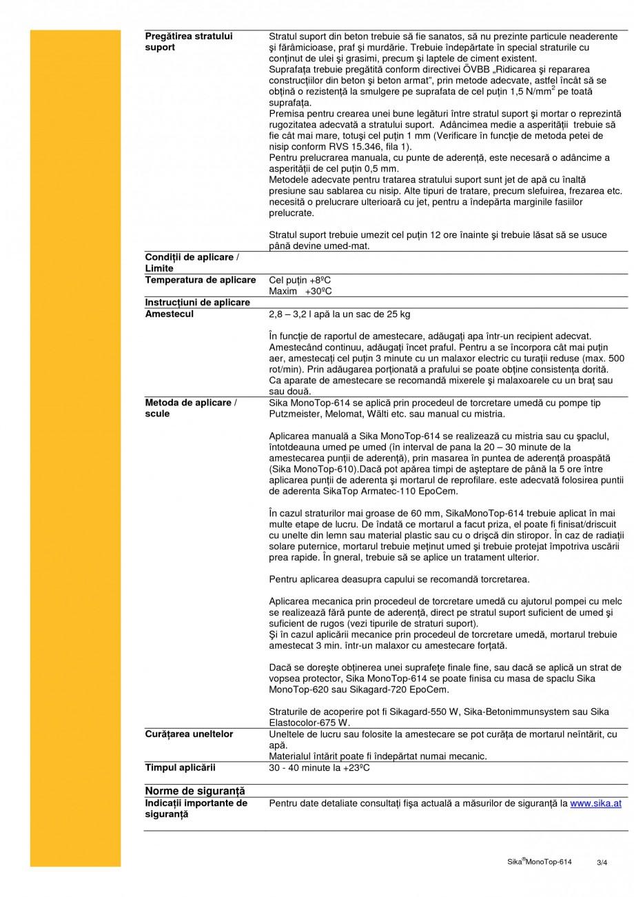 Pagina 3 - Mortar de reprofilare SIKA Sika® MonoTop®-614 Fisa tehnica Romana la compresiune ...