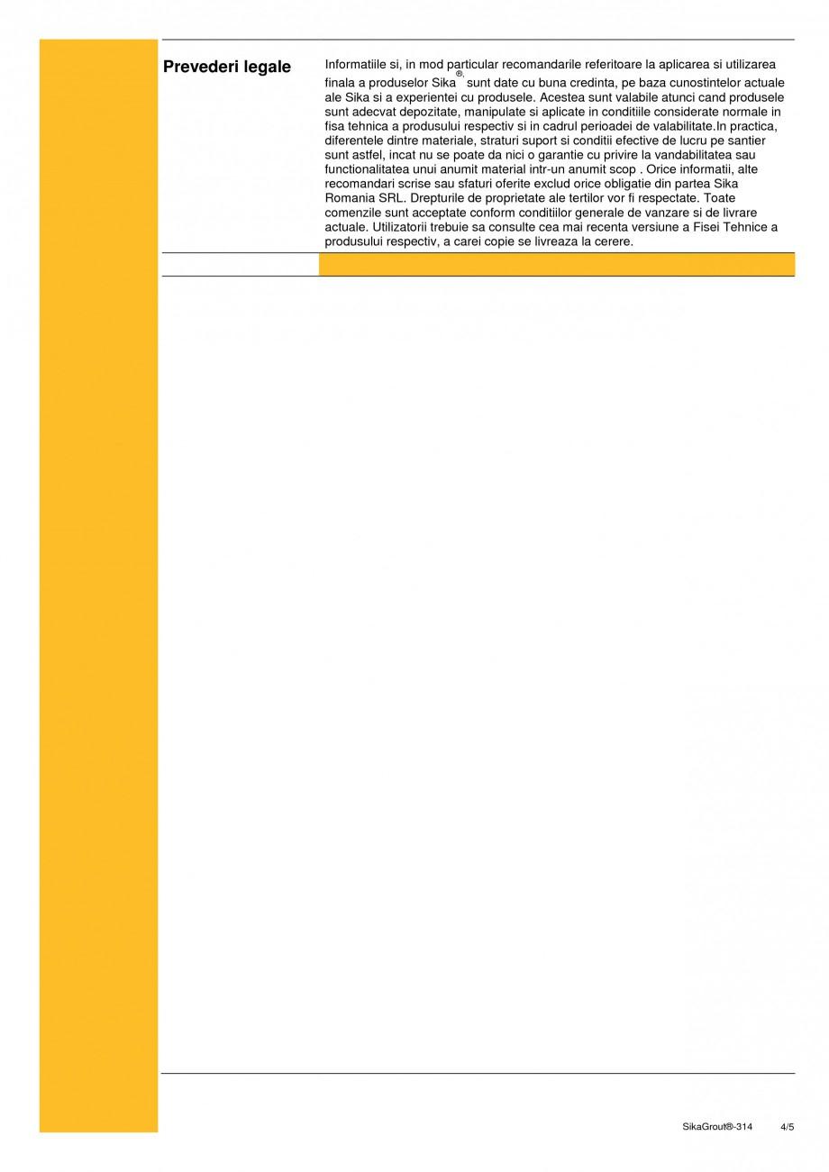 Pagina 4 - Mortar expandabil de inalta performanta cu contractii reduse SIKA SikaGrout®-314 Fisa...