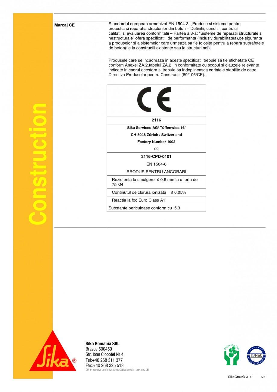 Pagina 5 - Mortar expandabil de inalta performanta cu contractii reduse SIKA SikaGrout®-314 Fisa...
