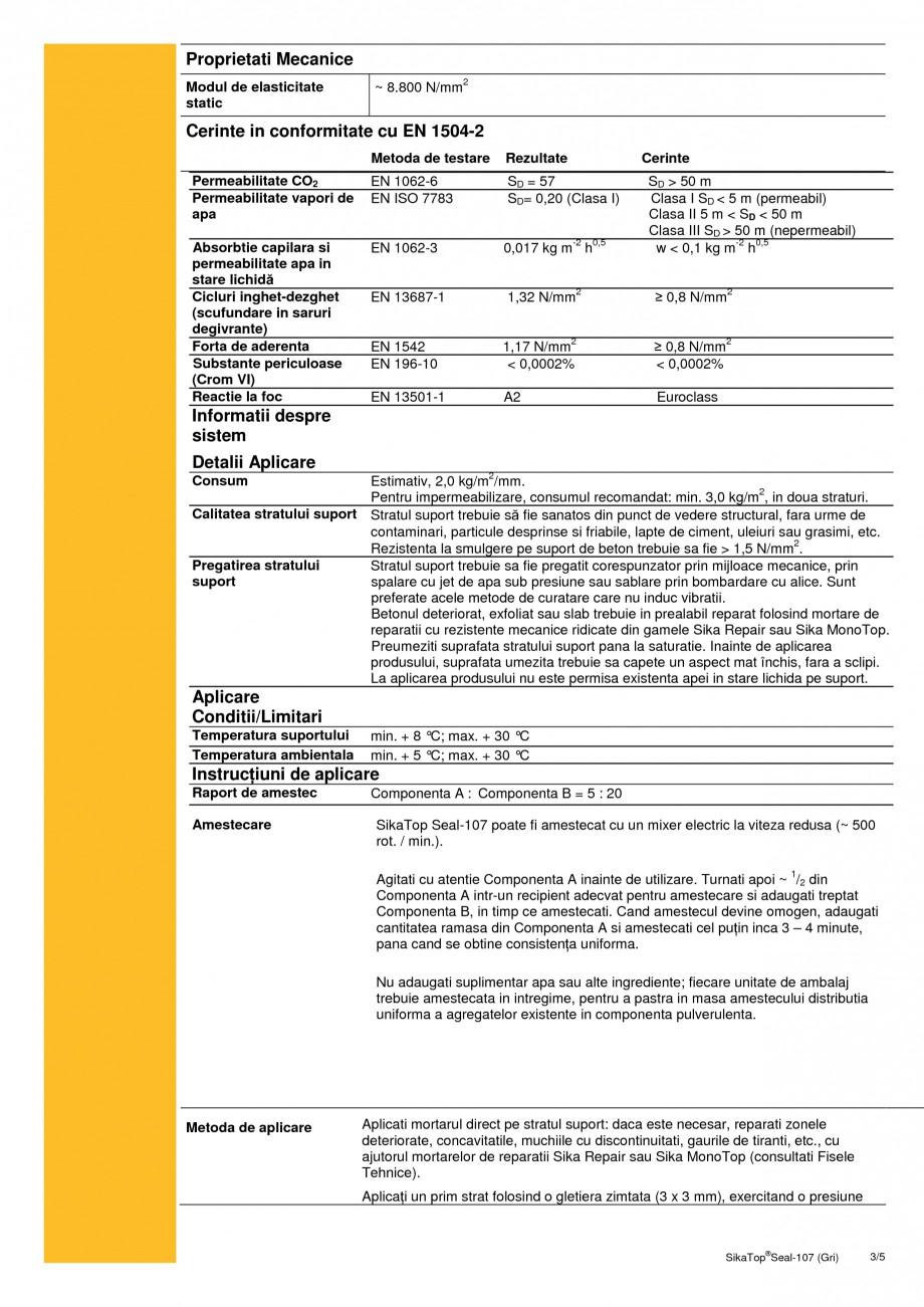 Pagina 3 - Mortar semi-elastic pentru impermeabilizare si protectie SIKA SikaTop®Seal-107 Fisa...