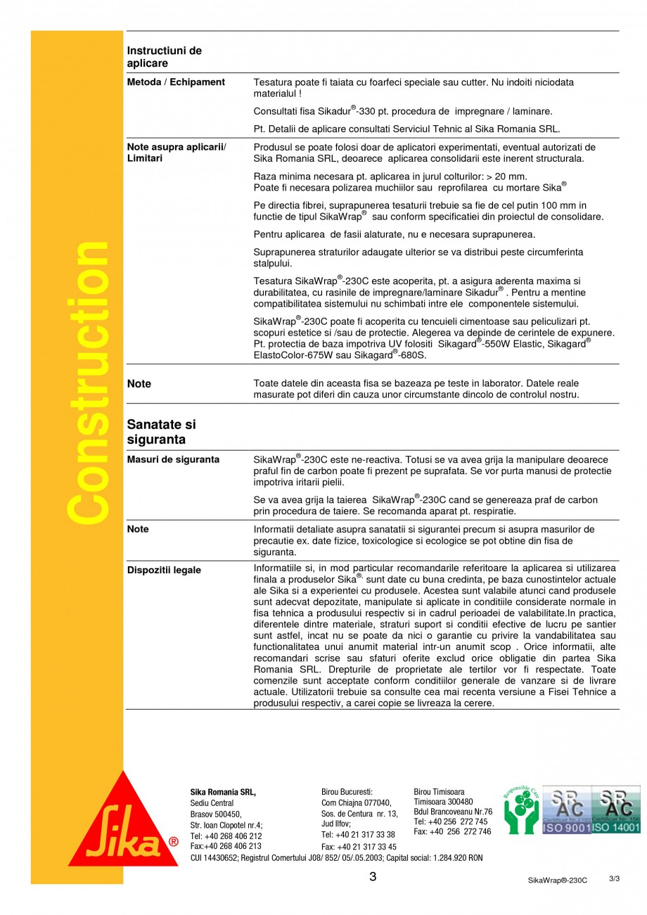 Pagina 3 - Panza din fibra de carbon tesuta pentru consolidari structurale SIKA SikaWrap®-230C...