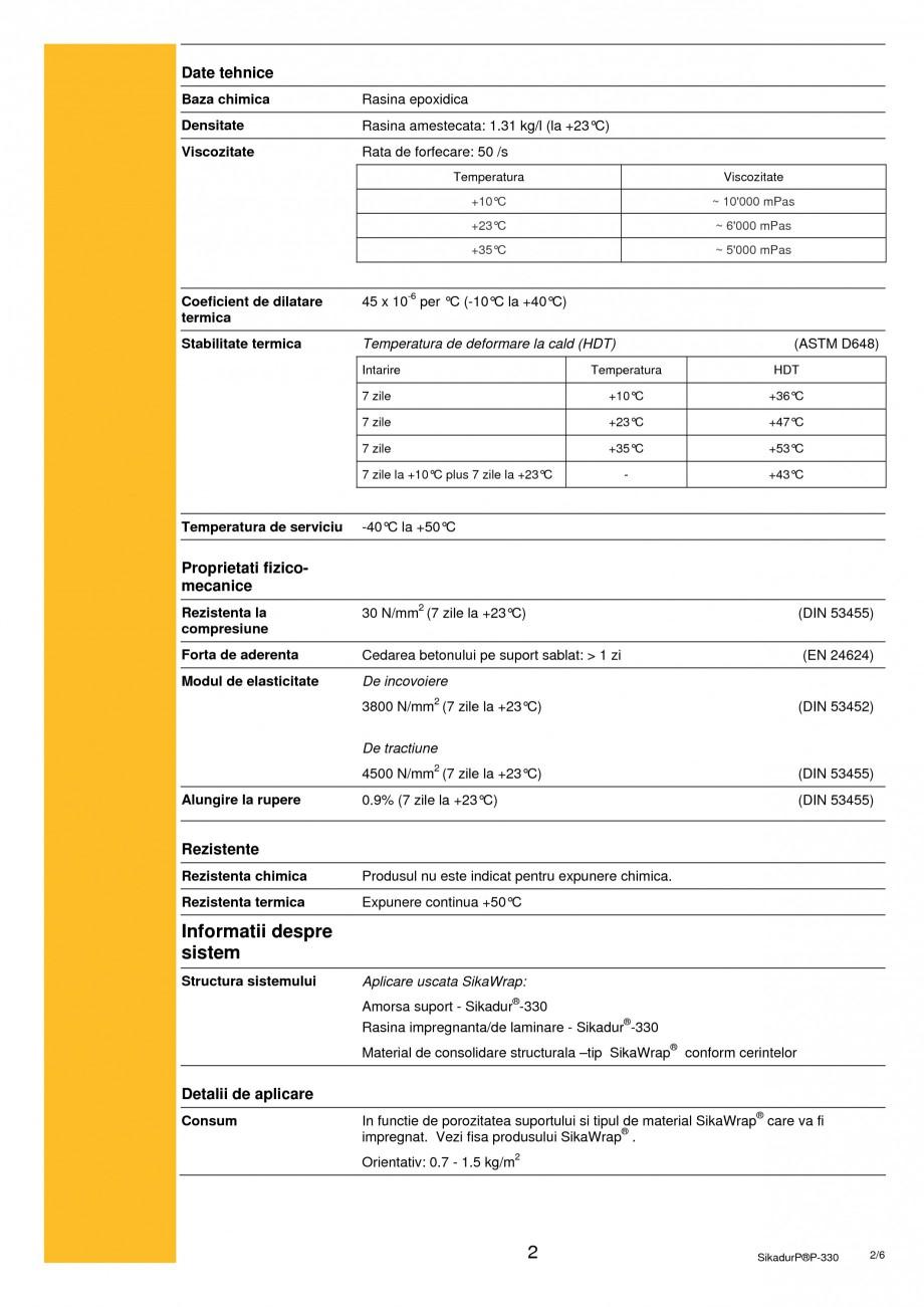 Pagina 2 - Rasina epoxidica bicomponenta de impregnare SIKA Sikadur®-330 Fisa tehnica Romana...