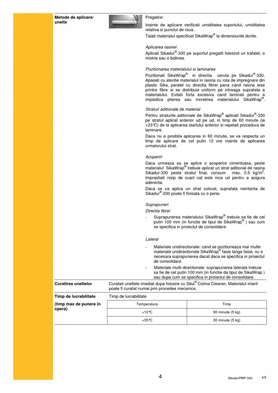 Pagina 4 - Rasina epoxidica bicomponenta de impregnare SIKA Sikadur®-330 Fisa tehnica Romana .7 ...