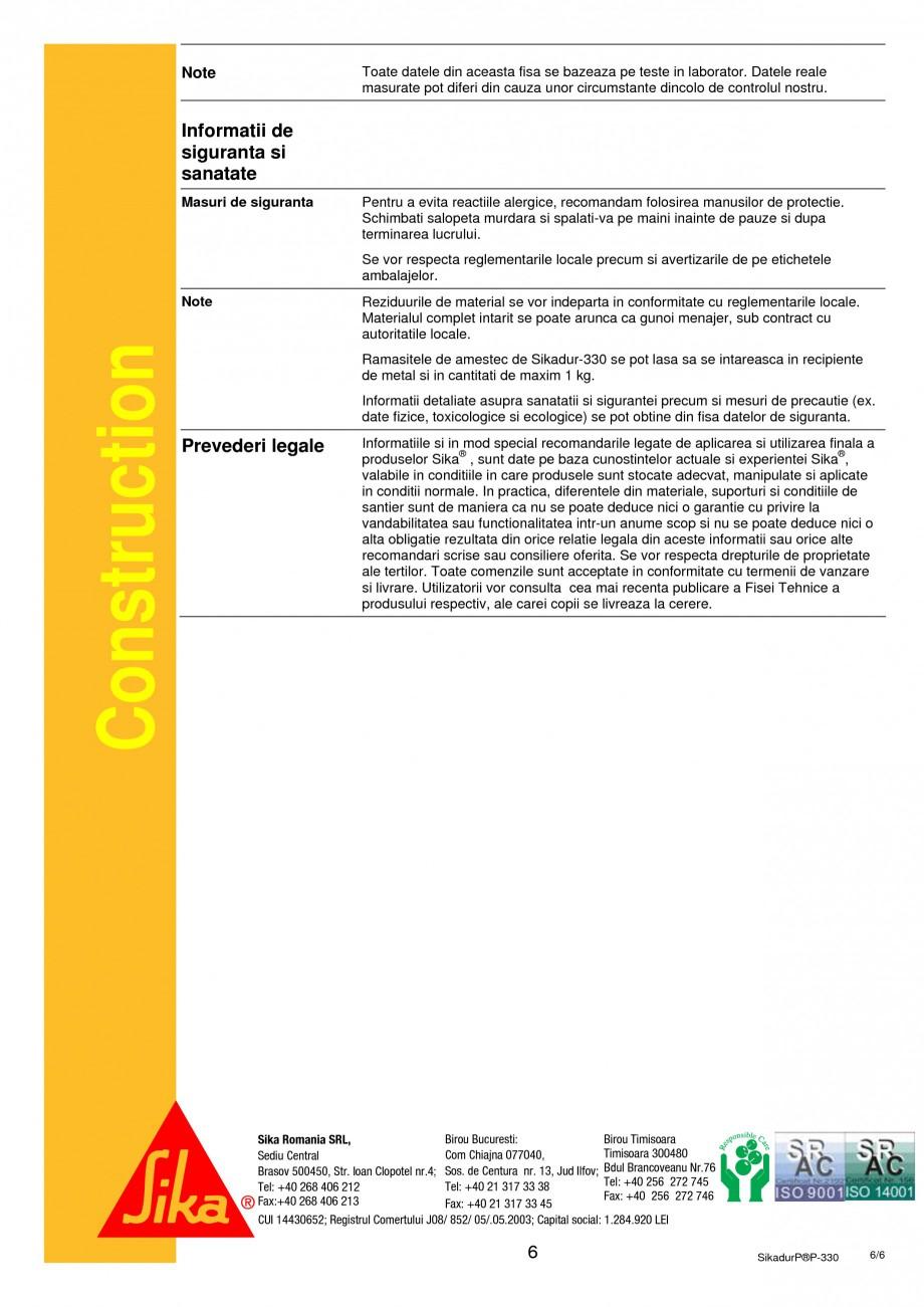 Pagina 6 - Rasina epoxidica bicomponenta de impregnare SIKA Sikadur®-330 Fisa tehnica Romana tru...