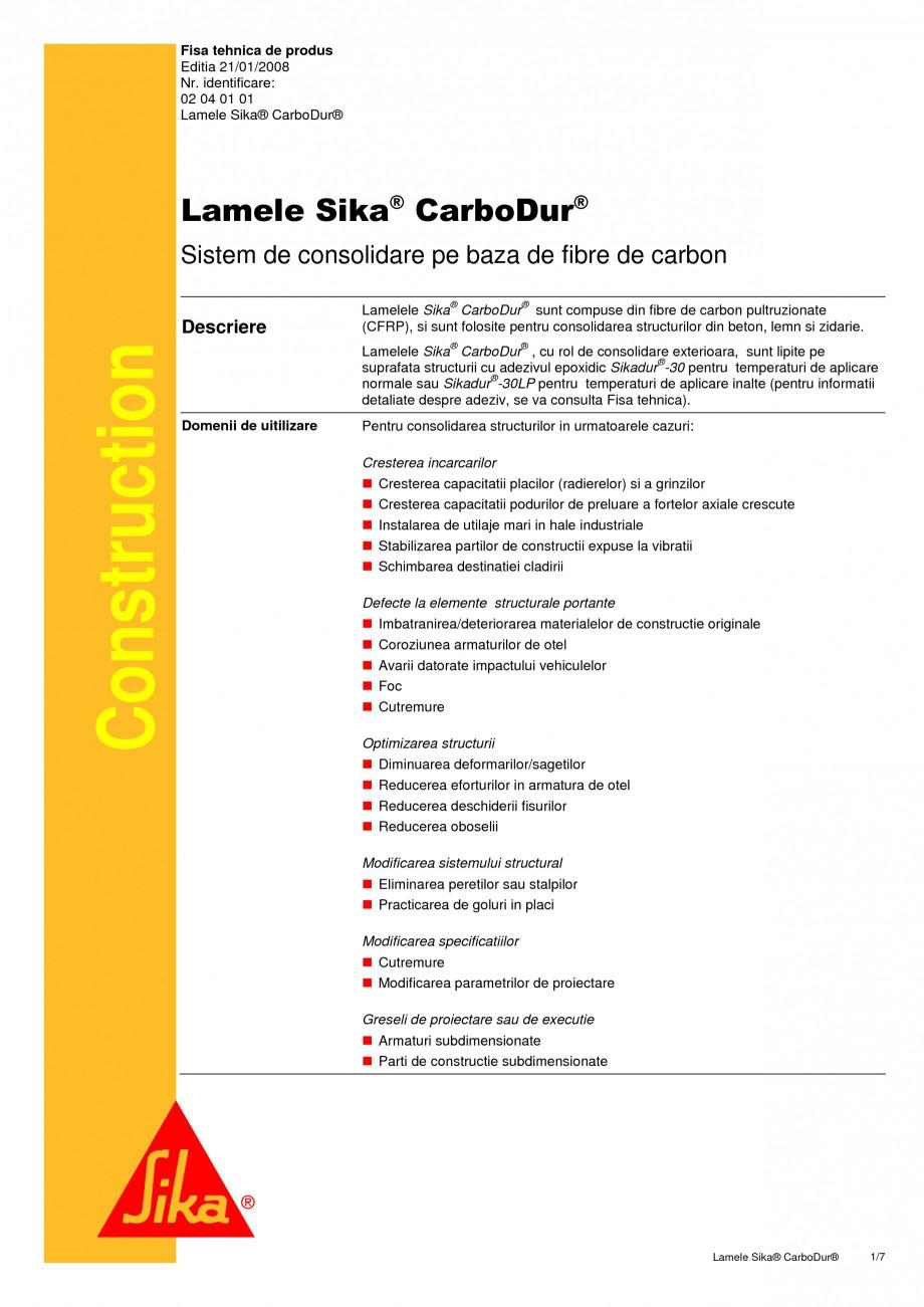 Pagina 1 - Sistem de consolidare pe baza de fibre de carbon SIKA Sika® CarboDur® Fisa...