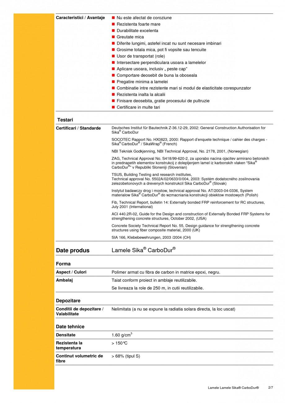 Pagina 2 - Sistem de consolidare pe baza de fibre de carbon SIKA Sika® CarboDur® Fisa...