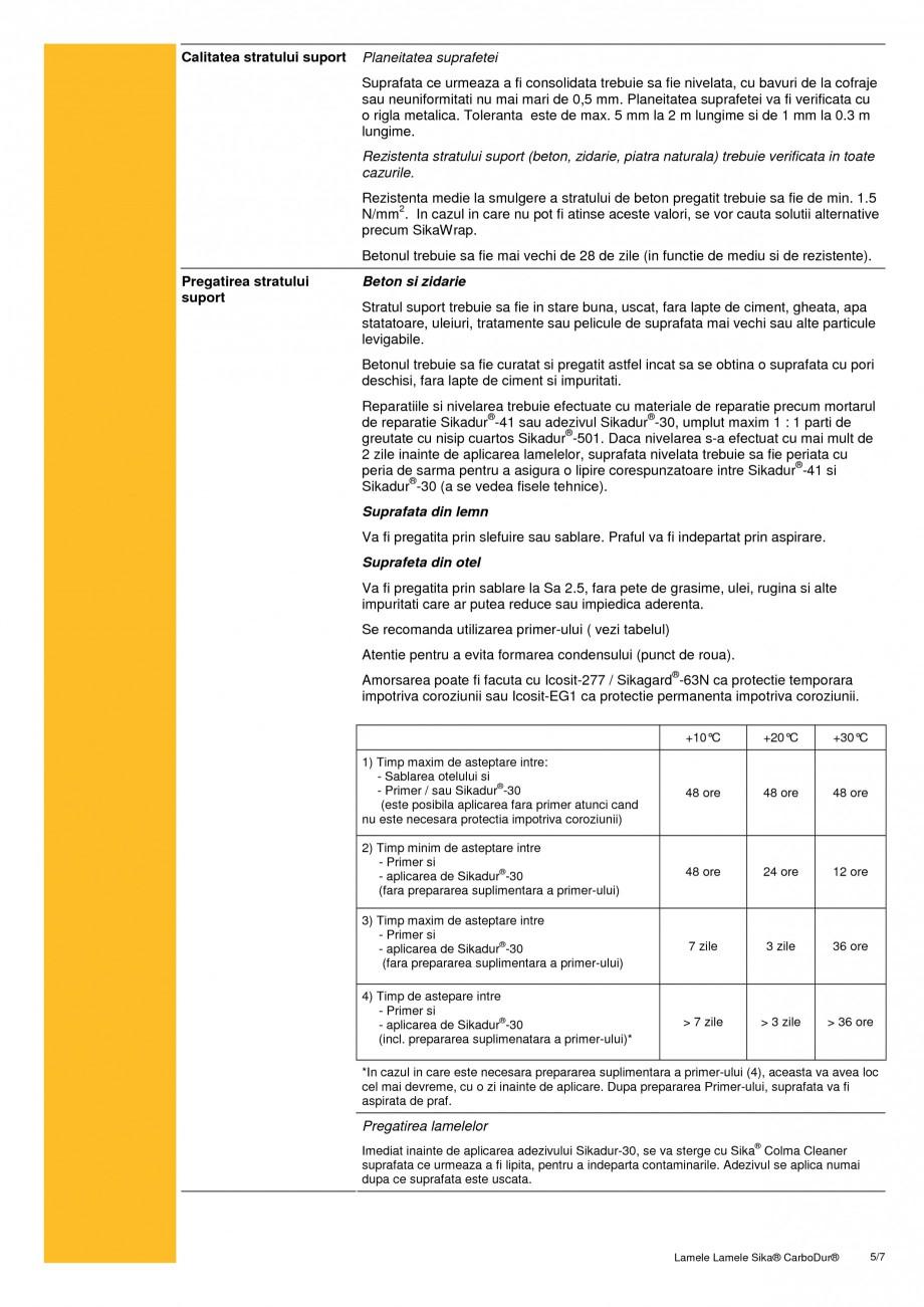 Pagina 5 - Sistem de consolidare pe baza de fibre de carbon SIKA Sika® CarboDur® Fisa...