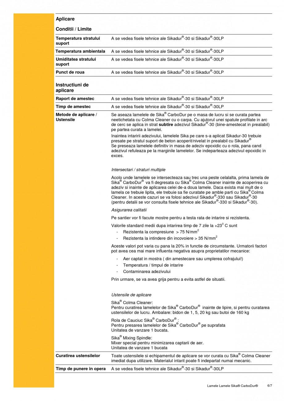 Pagina 6 - Sistem de consolidare pe baza de fibre de carbon SIKA Sika® CarboDur® Fisa...