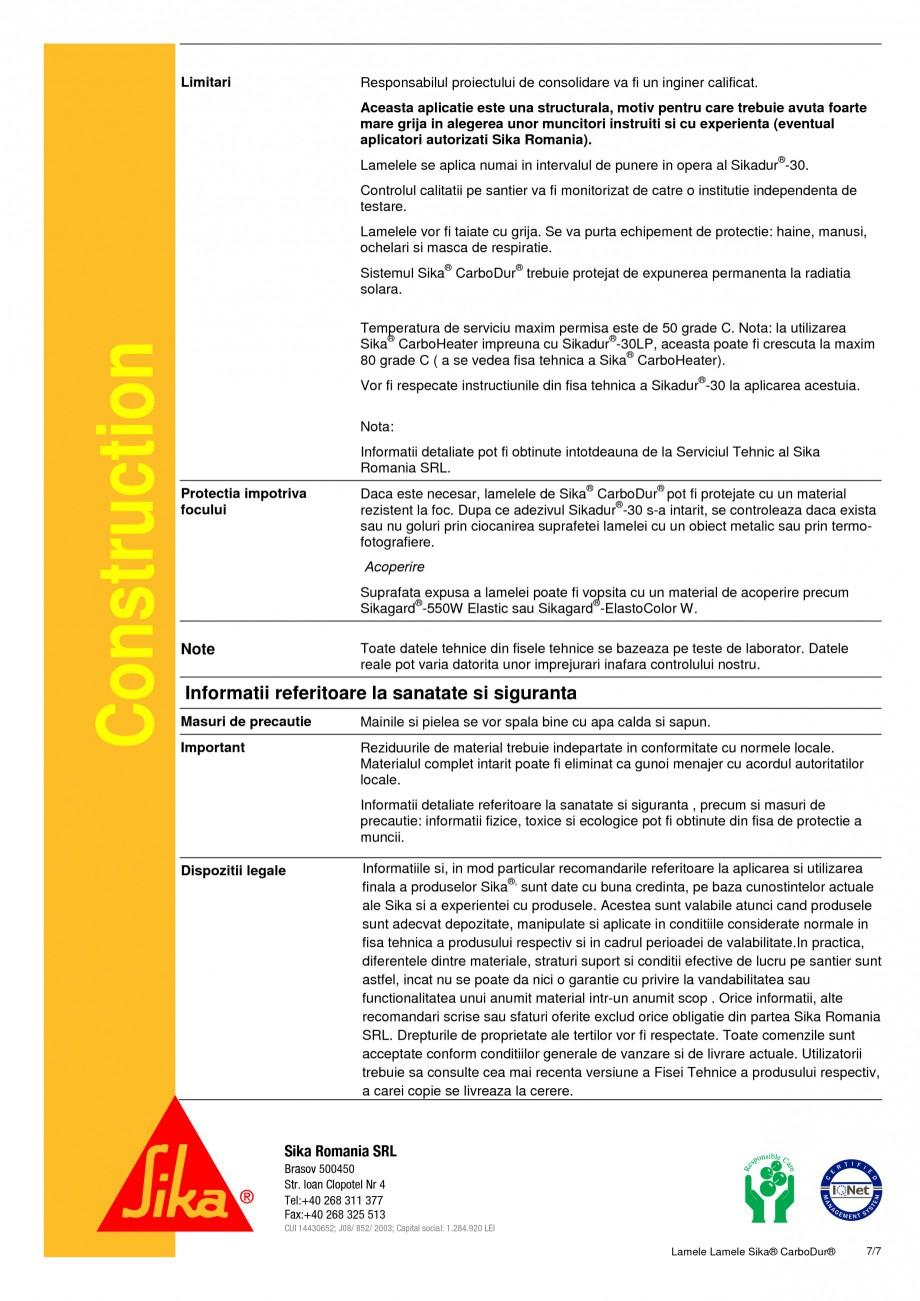 Pagina 7 - Sistem de consolidare pe baza de fibre de carbon SIKA Sika® CarboDur® Fisa...