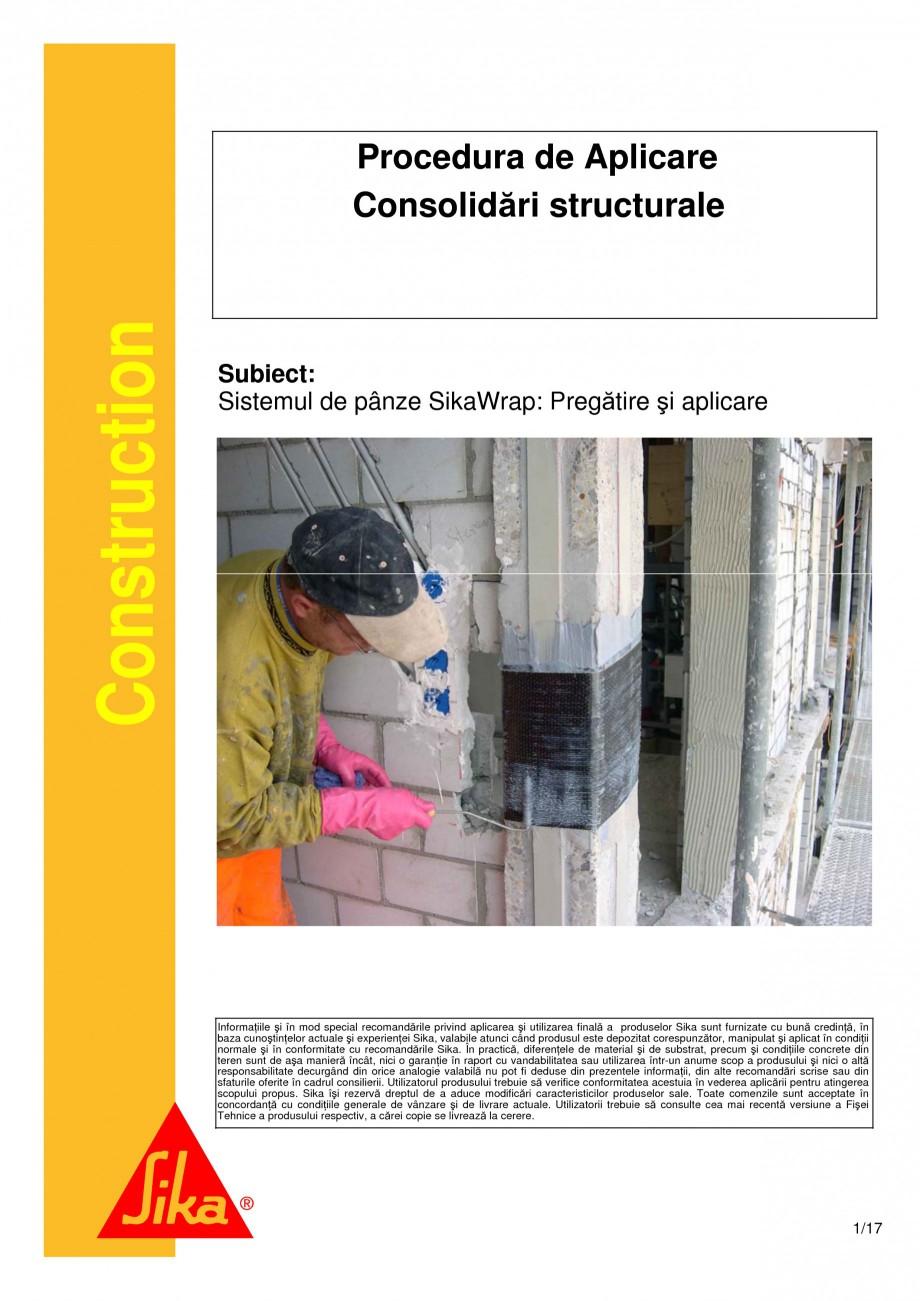 Pagina 1 - Consolidari structurale - Sistemul de panze SIKA SikaWrap®-230C, SikaWrap®-430...