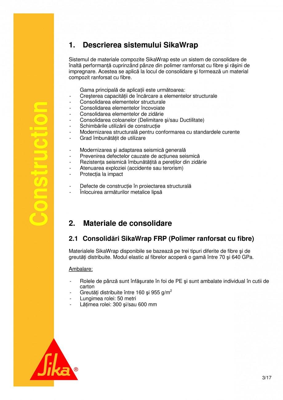 Pagina 3 - Consolidari structurale - Sistemul de panze SIKA SikaWrap®-230C, SikaWrap®-430...