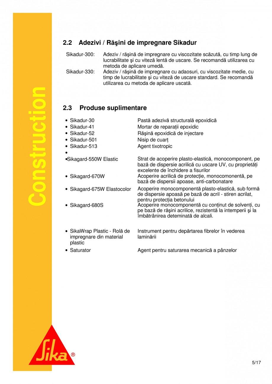 Pagina 5 - Consolidari structurale - Sistemul de panze SIKA SikaWrap®-230C, SikaWrap®-430...