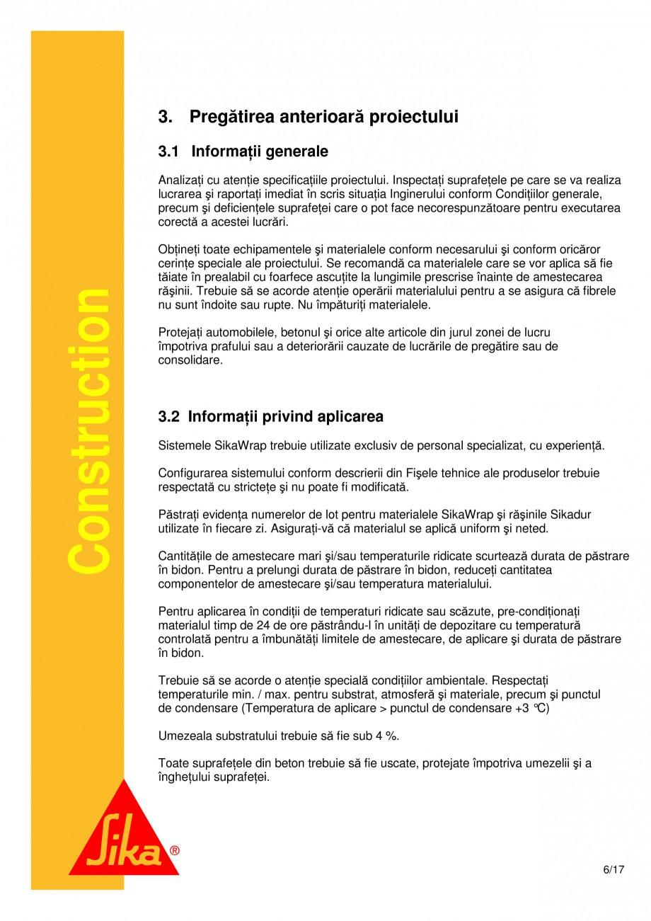 Pagina 6 - Consolidari structurale - Sistemul de panze SIKA SikaWrap®-230C, SikaWrap®-430...