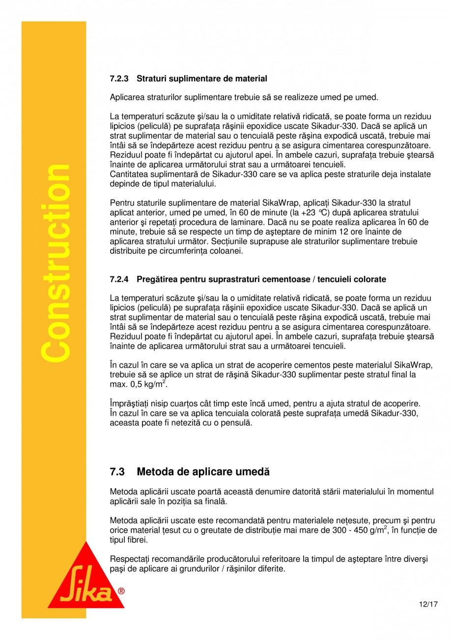 Pagina 12 - Consolidari structurale - Sistemul de panze SIKA SikaWrap®-230C, SikaWrap®-430...