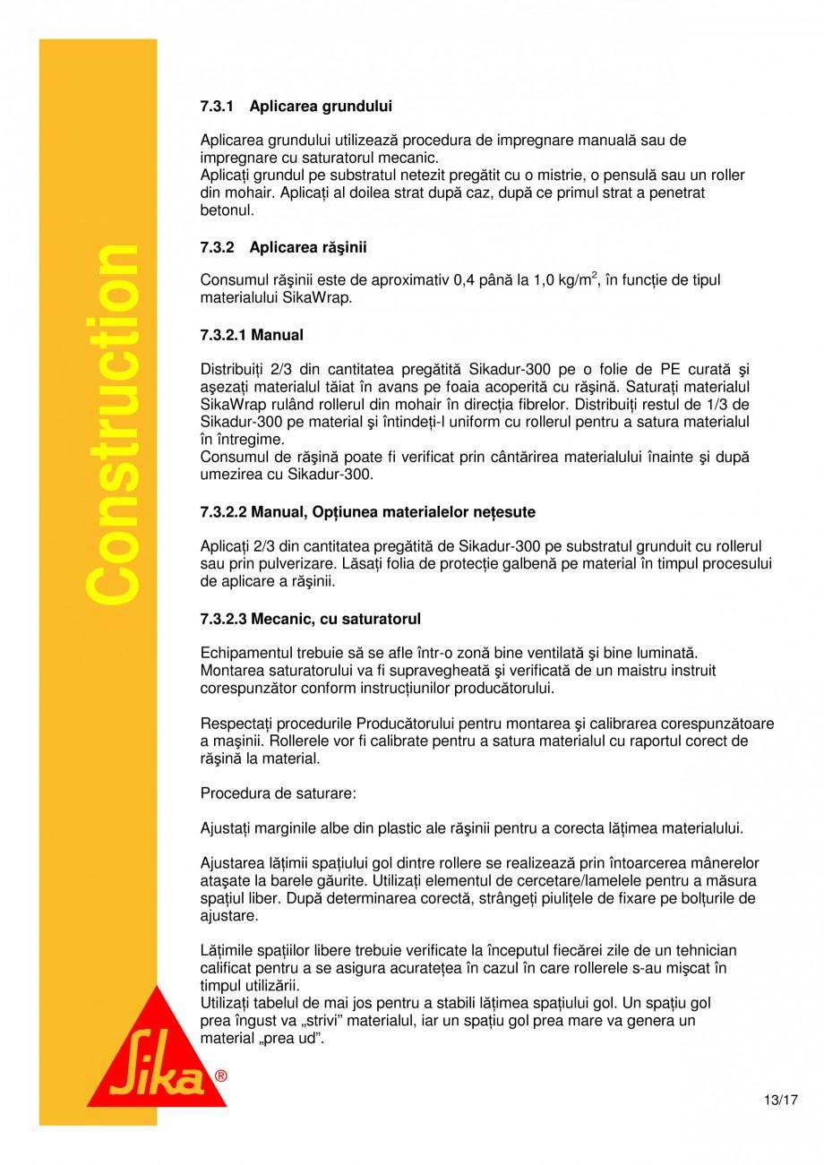 Pagina 13 - Consolidari structurale - Sistemul de panze SIKA SikaWrap®-230C, SikaWrap®-430...