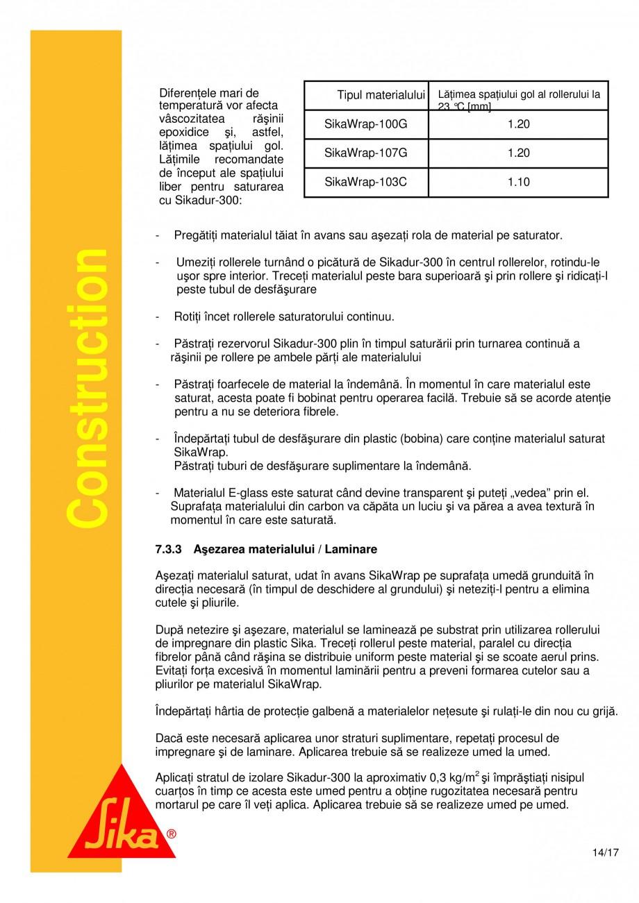 Pagina 14 - Consolidari structurale - Sistemul de panze SIKA SikaWrap®-230C, SikaWrap®-430...