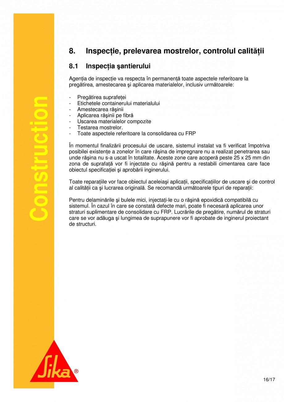 Pagina 16 - Consolidari structurale - Sistemul de panze SIKA SikaWrap®-230C, SikaWrap®-430...