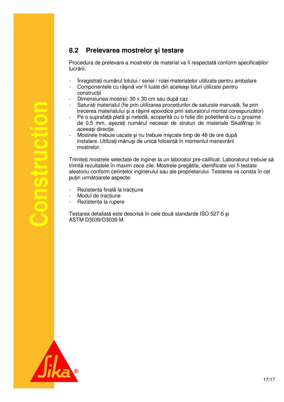 Pagina 17 - Consolidari structurale - Sistemul de panze SIKA SikaWrap®-230C, SikaWrap®-430...