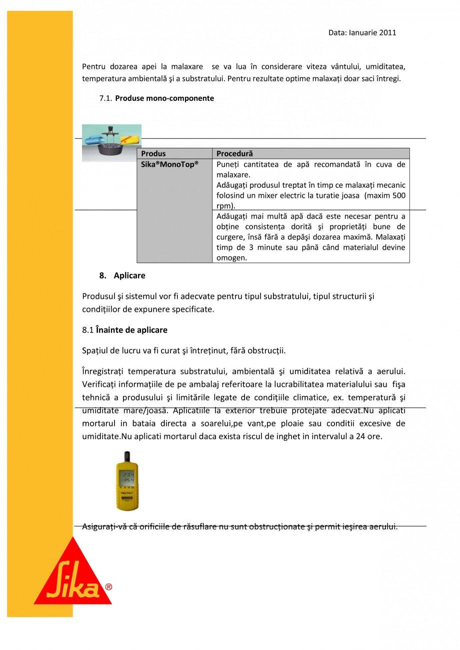 Pagina 7 - Procedura de executie a mortarului de subturnare SIKA SikaGrout®-311, SikaGrout®...