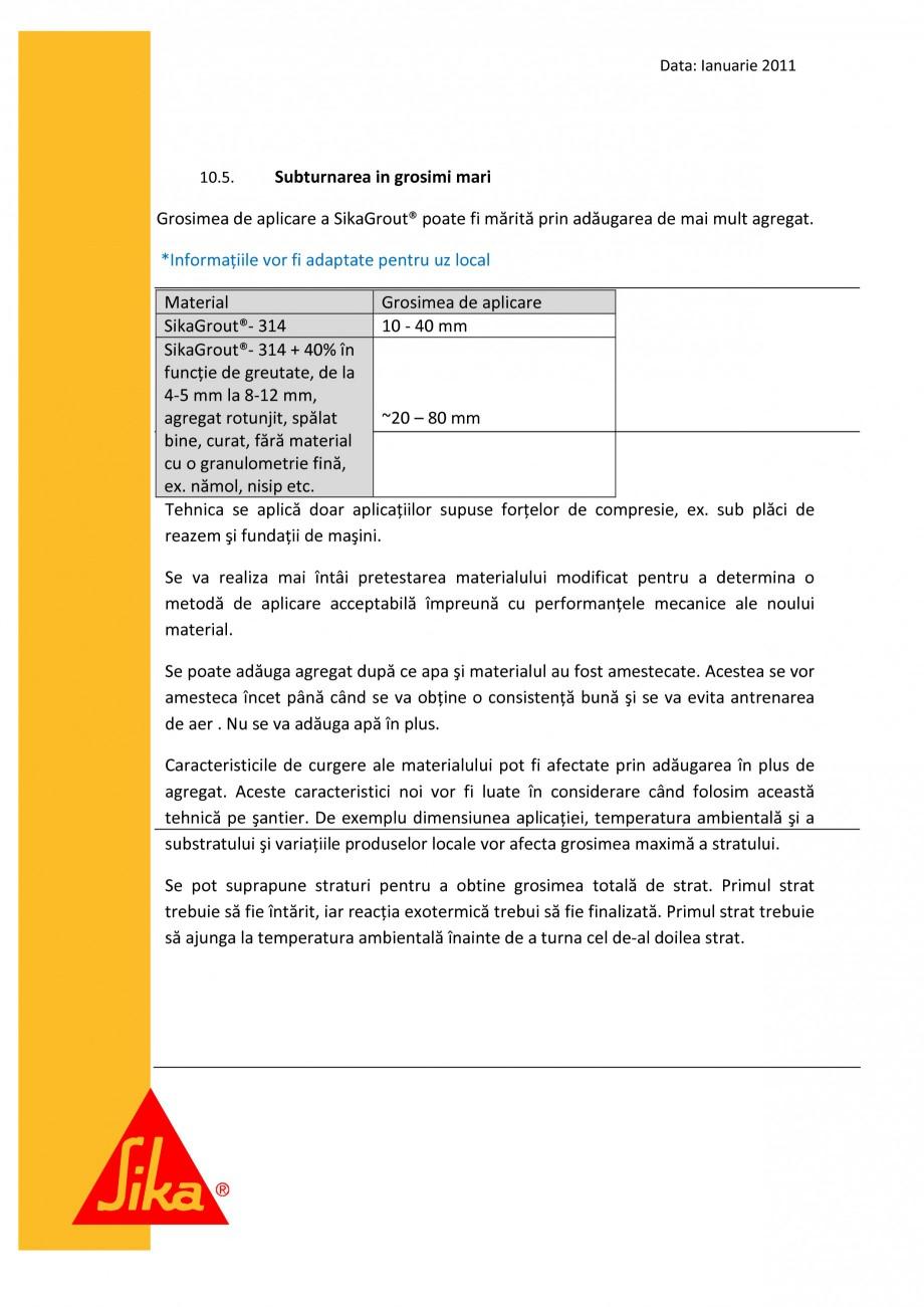 Pagina 13 - Procedura de executie a mortarului de subturnare SIKA SikaGrout®-311, SikaGrout®...