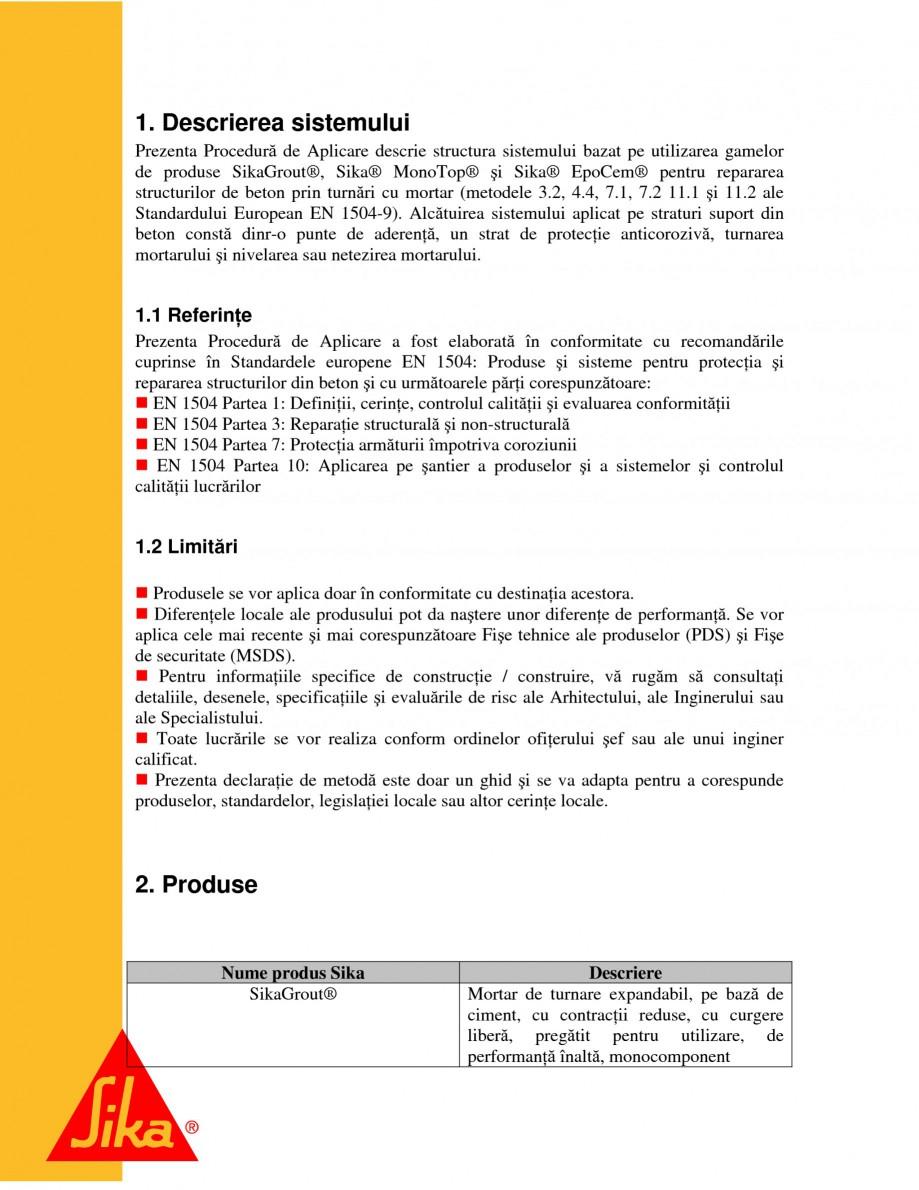 Pagina 4 - Repararea structurilor de beton prin turnari cu mortar - SikaGrout/ MonoTop SIKA...