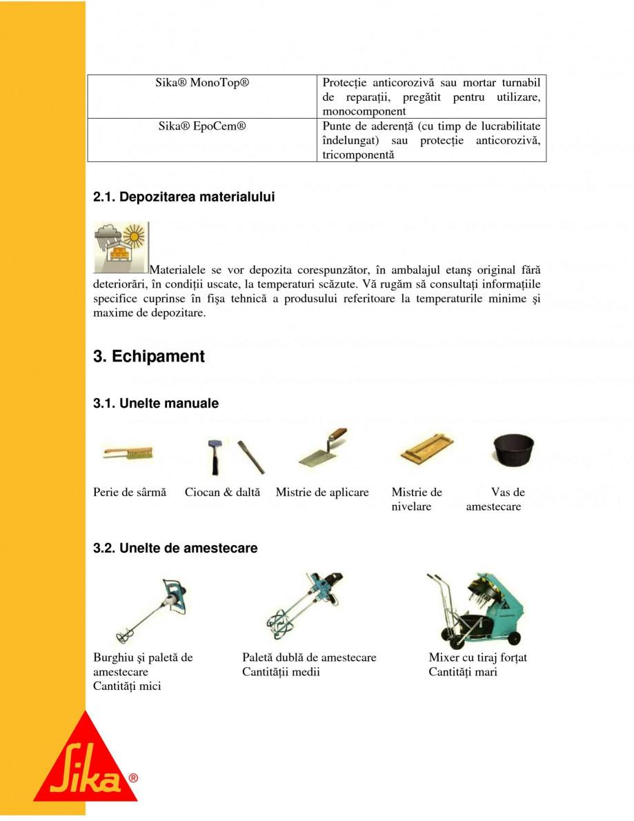 Pagina 5 - Repararea structurilor de beton prin turnari cu mortar - SikaGrout/ MonoTop SIKA...