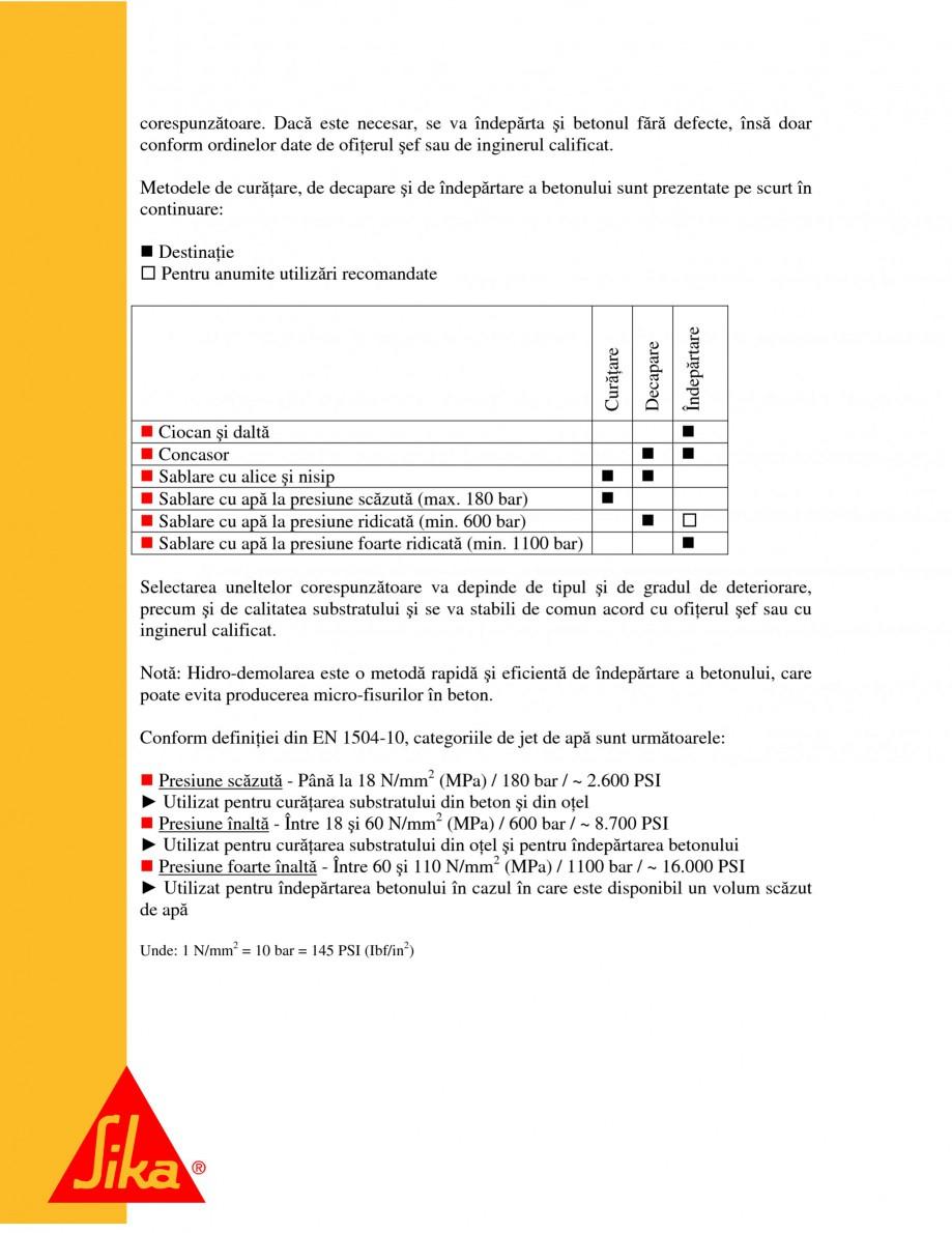 Pagina 9 - Repararea structurilor de beton prin turnari cu mortar - SikaGrout/ MonoTop SIKA...