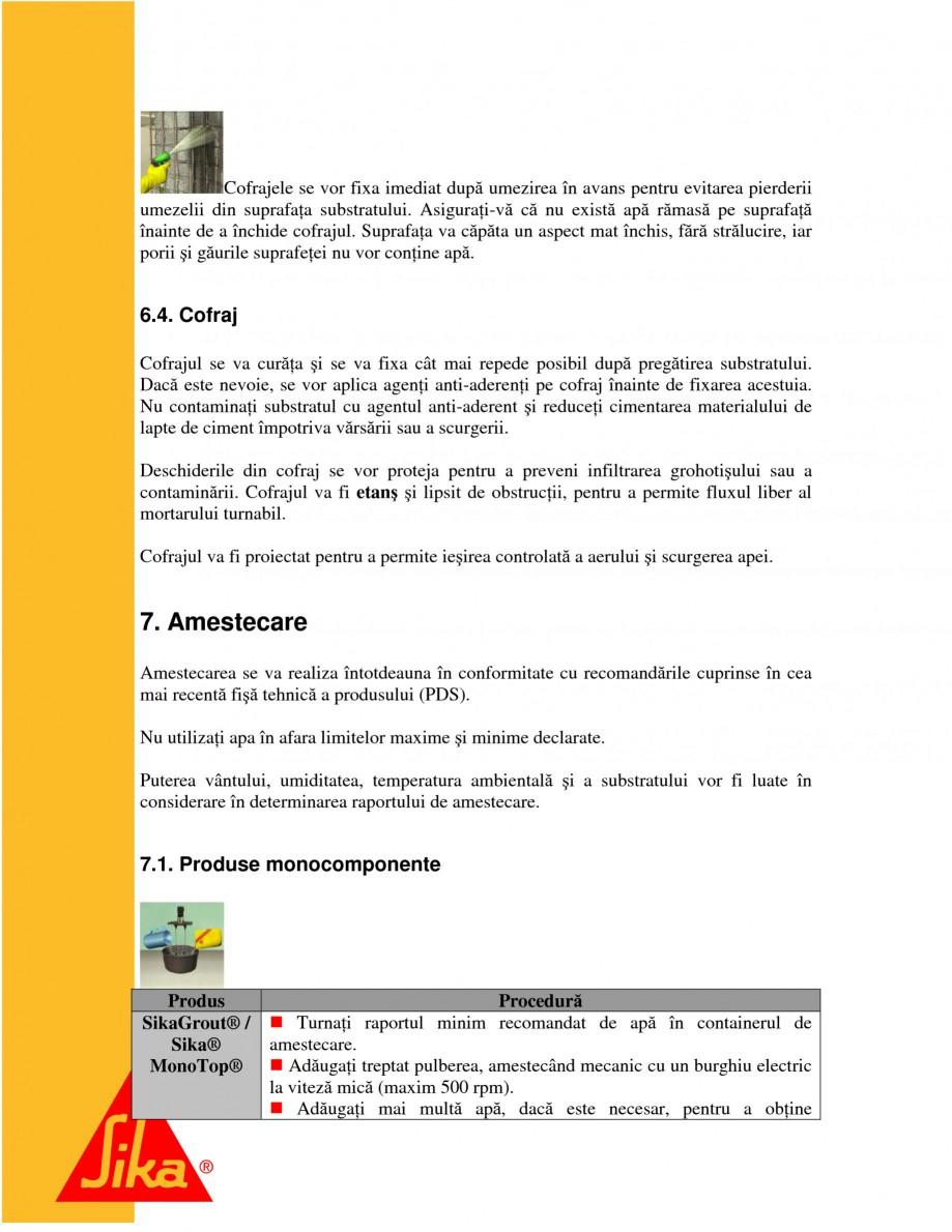Pagina 12 - Repararea structurilor de beton prin turnari cu mortar - SikaGrout/ MonoTop SIKA...
