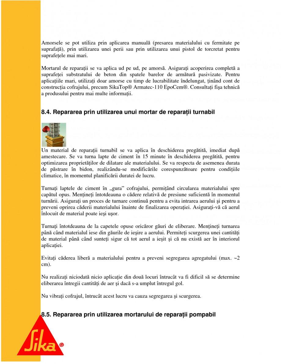 Pagina 15 - Repararea structurilor de beton prin turnari cu mortar - SikaGrout/ MonoTop SIKA...