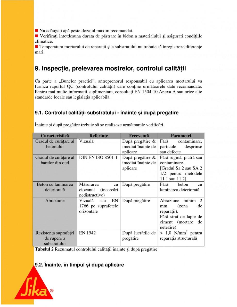 Pagina 18 - Repararea structurilor de beton prin turnari cu mortar - SikaGrout/ MonoTop SIKA...