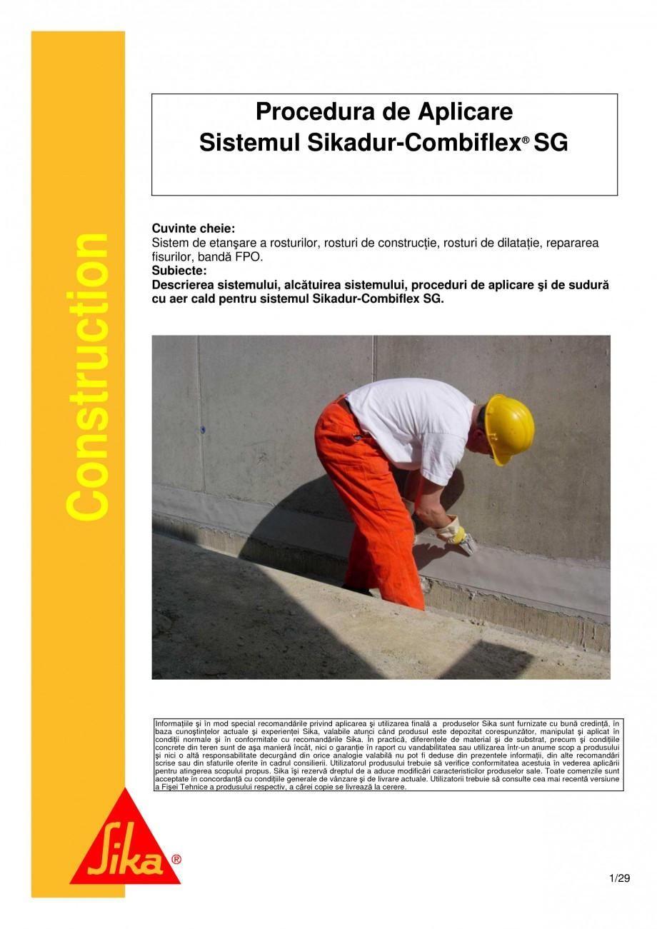 Pagina 1 - Sistem de etansare a rosturilor si reparare a fisurilor - Sikadur-Combiflex SG SIKA...