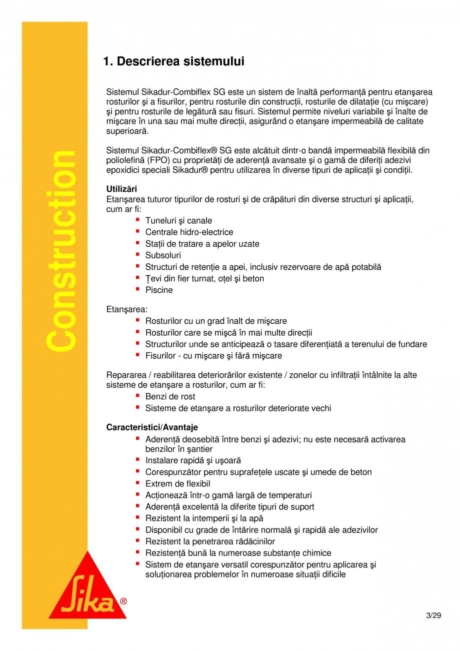 Pagina 3 - Sistem de etansare a rosturilor si reparare a fisurilor - Sikadur-Combiflex SG SIKA...