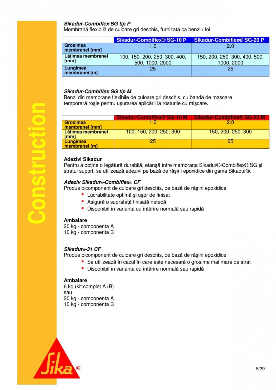 Pagina 5 - Sistem de etansare a rosturilor si reparare a fisurilor - Sikadur-Combiflex SG SIKA...