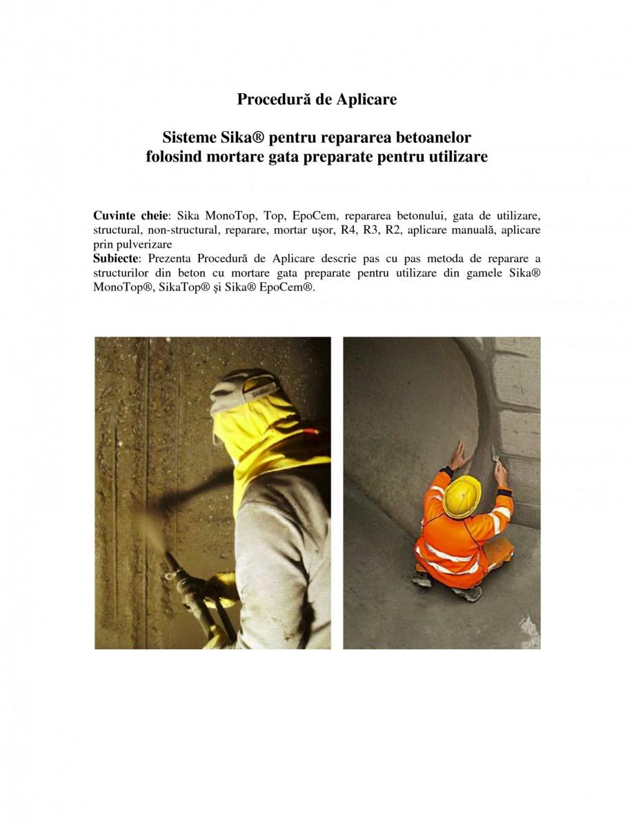 Pagina 1 - Sisteme pentru repararea betoanelor folosind mortare gata preparate SIKA Instructiuni...
