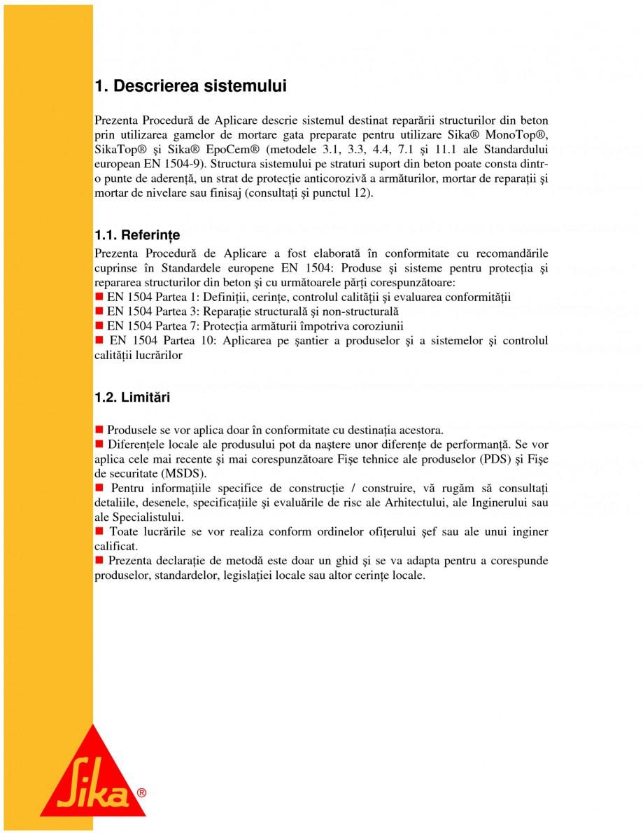 Pagina 3 - Sisteme pentru repararea betoanelor folosind mortare gata preparate SIKA Instructiuni...