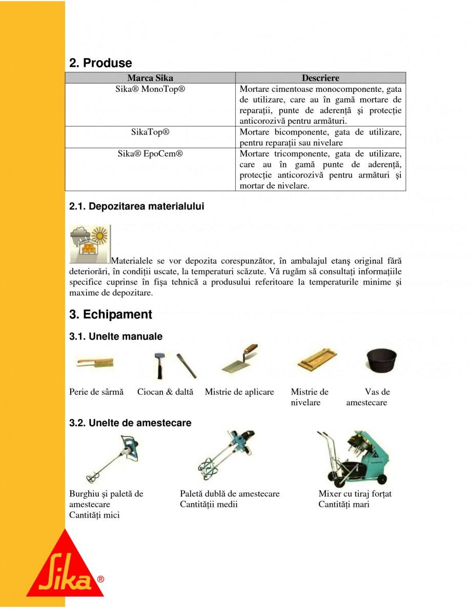Pagina 4 - Sisteme pentru repararea betoanelor folosind mortare gata preparate SIKA Instructiuni...