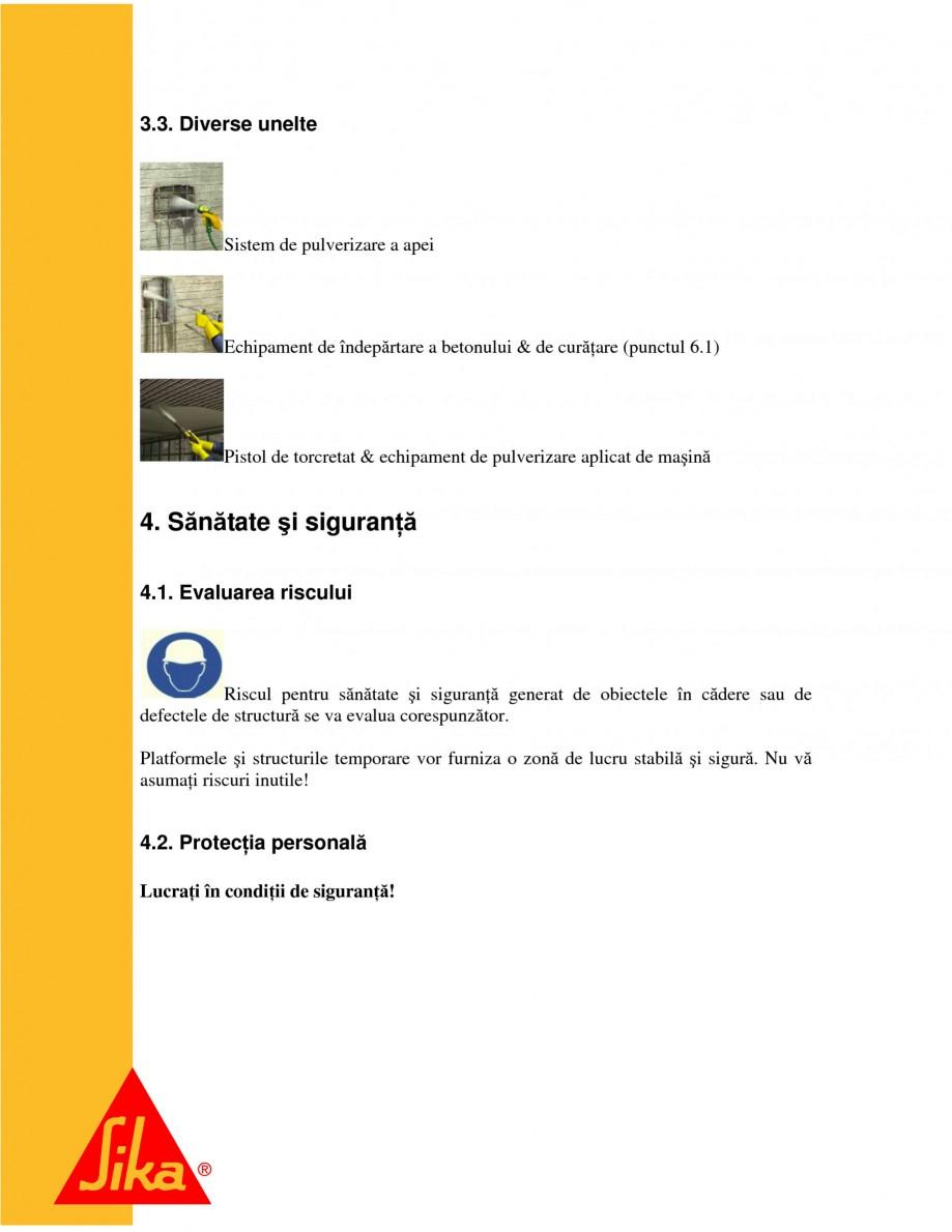 Pagina 5 - Sisteme pentru repararea betoanelor folosind mortare gata preparate SIKA Instructiuni...