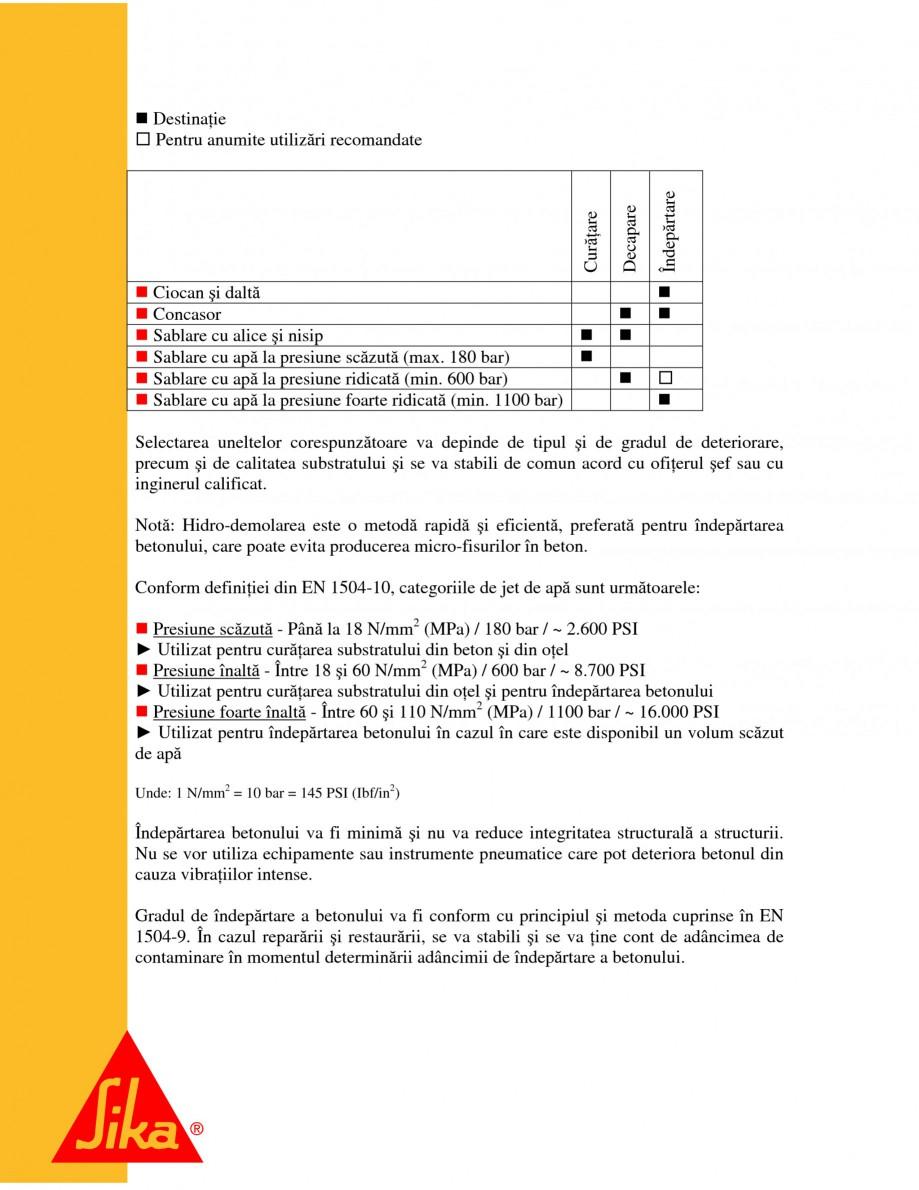 Pagina 8 - Sisteme pentru repararea betoanelor folosind mortare gata preparate SIKA Instructiuni...