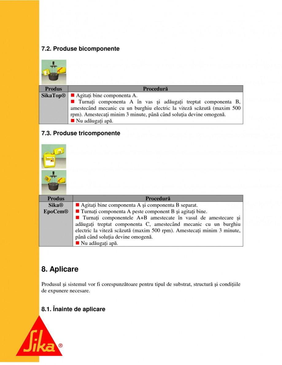 Pagina 12 - Sisteme pentru repararea betoanelor folosind mortare gata preparate SIKA Instructiuni...