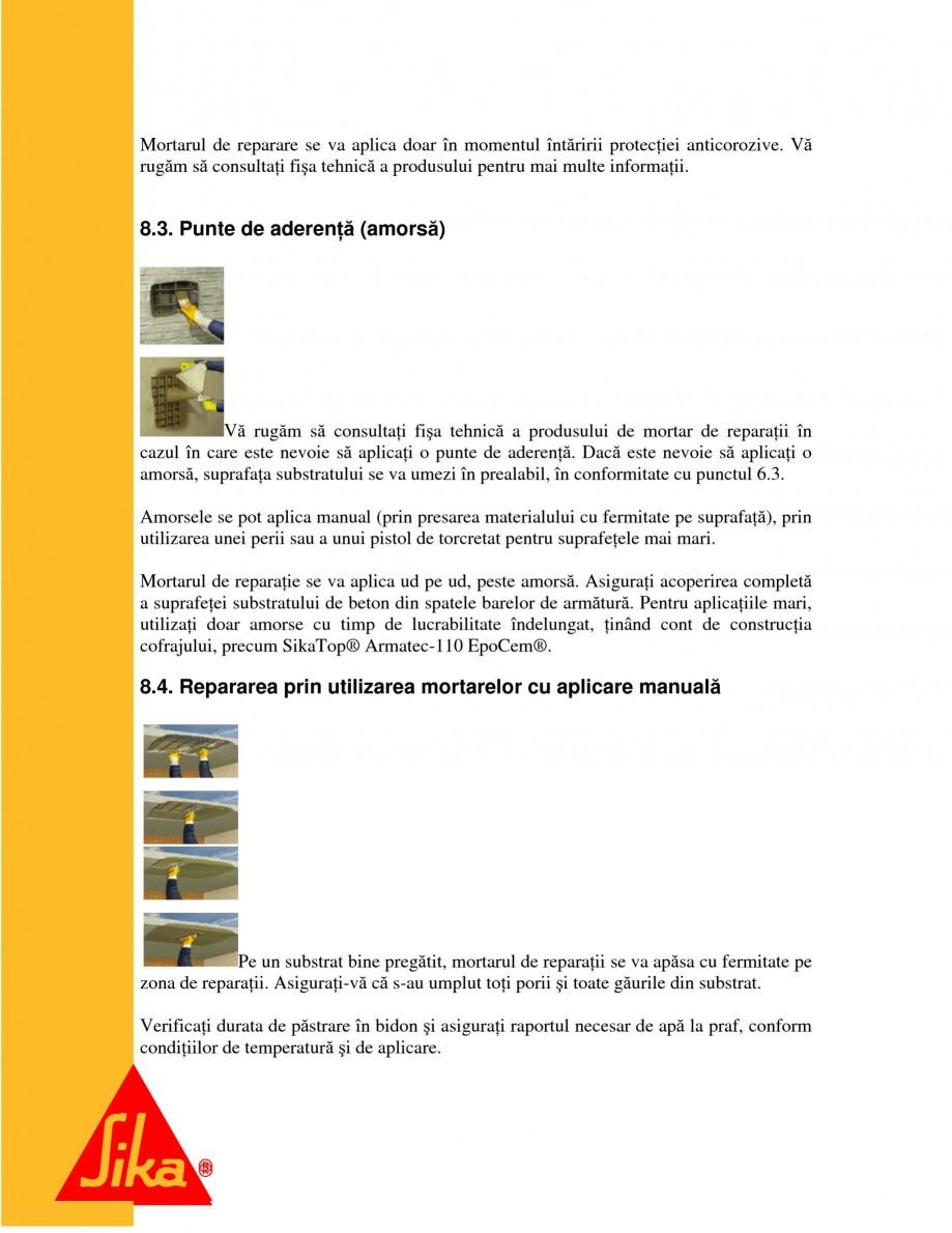 Pagina 14 - Sisteme pentru repararea betoanelor folosind mortare gata preparate SIKA Instructiuni...