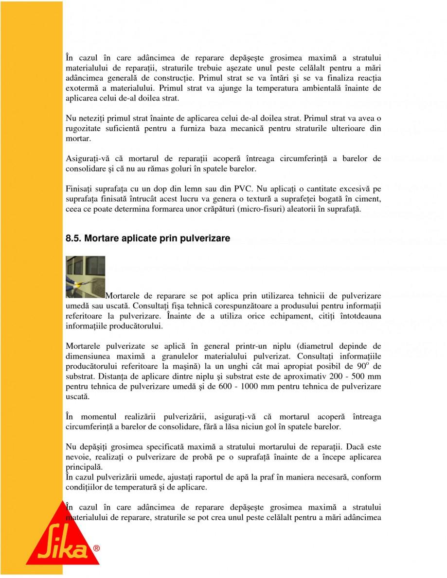 Pagina 15 - Sisteme pentru repararea betoanelor folosind mortare gata preparate SIKA Instructiuni...