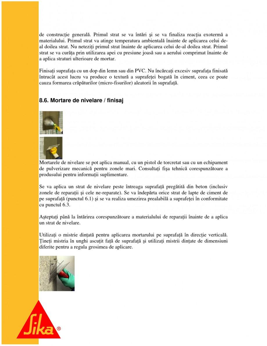 Pagina 16 - Sisteme pentru repararea betoanelor folosind mortare gata preparate SIKA Instructiuni...