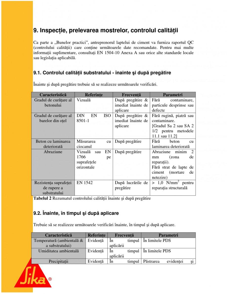 Pagina 18 - Sisteme pentru repararea betoanelor folosind mortare gata preparate SIKA Instructiuni...