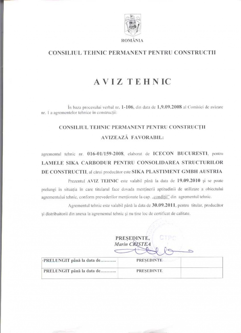 Pagina 1 - Agrement tehnic SIKA Sika® CarboDur® Certificare produs Romana