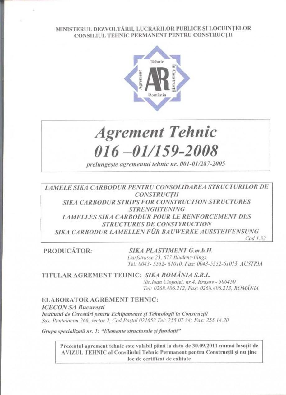 Pagina 2 - Agrement tehnic SIKA Sika® CarboDur® Certificare produs Romana