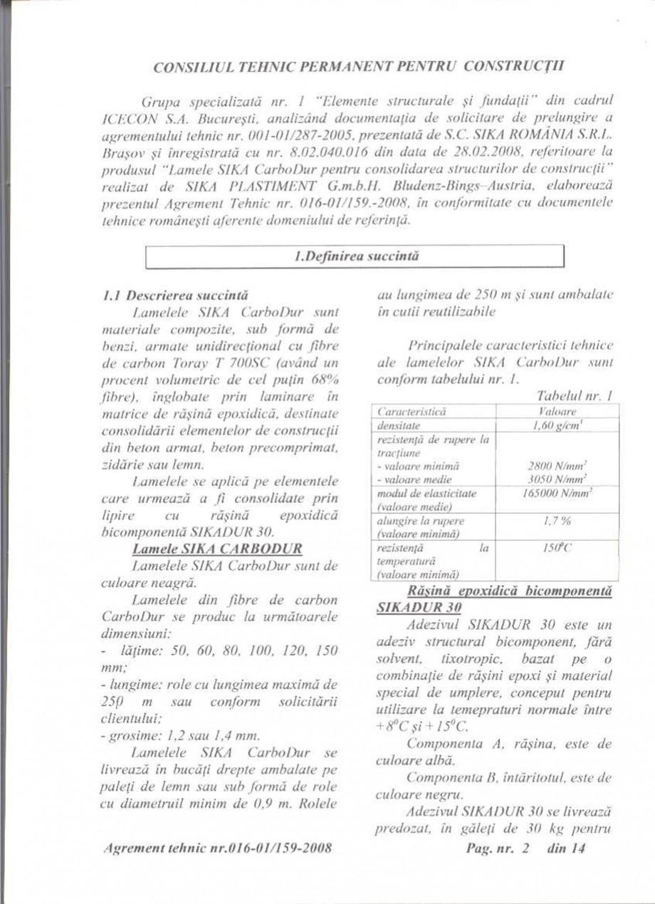 Pagina 3 - Agrement tehnic SIKA Sika® CarboDur® Certificare produs Romana