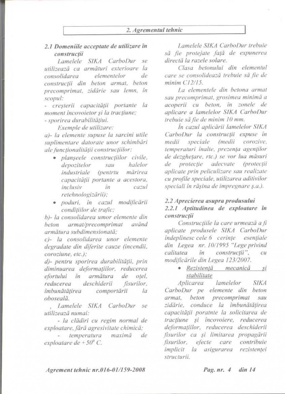 Pagina 5 - Agrement tehnic SIKA Sika® CarboDur® Certificare produs Romana