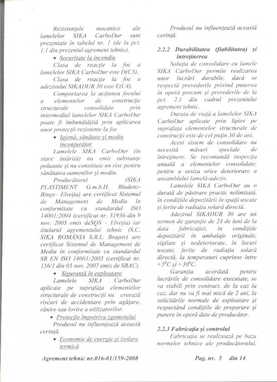 Pagina 6 - Agrement tehnic SIKA Sika® CarboDur® Certificare produs Romana