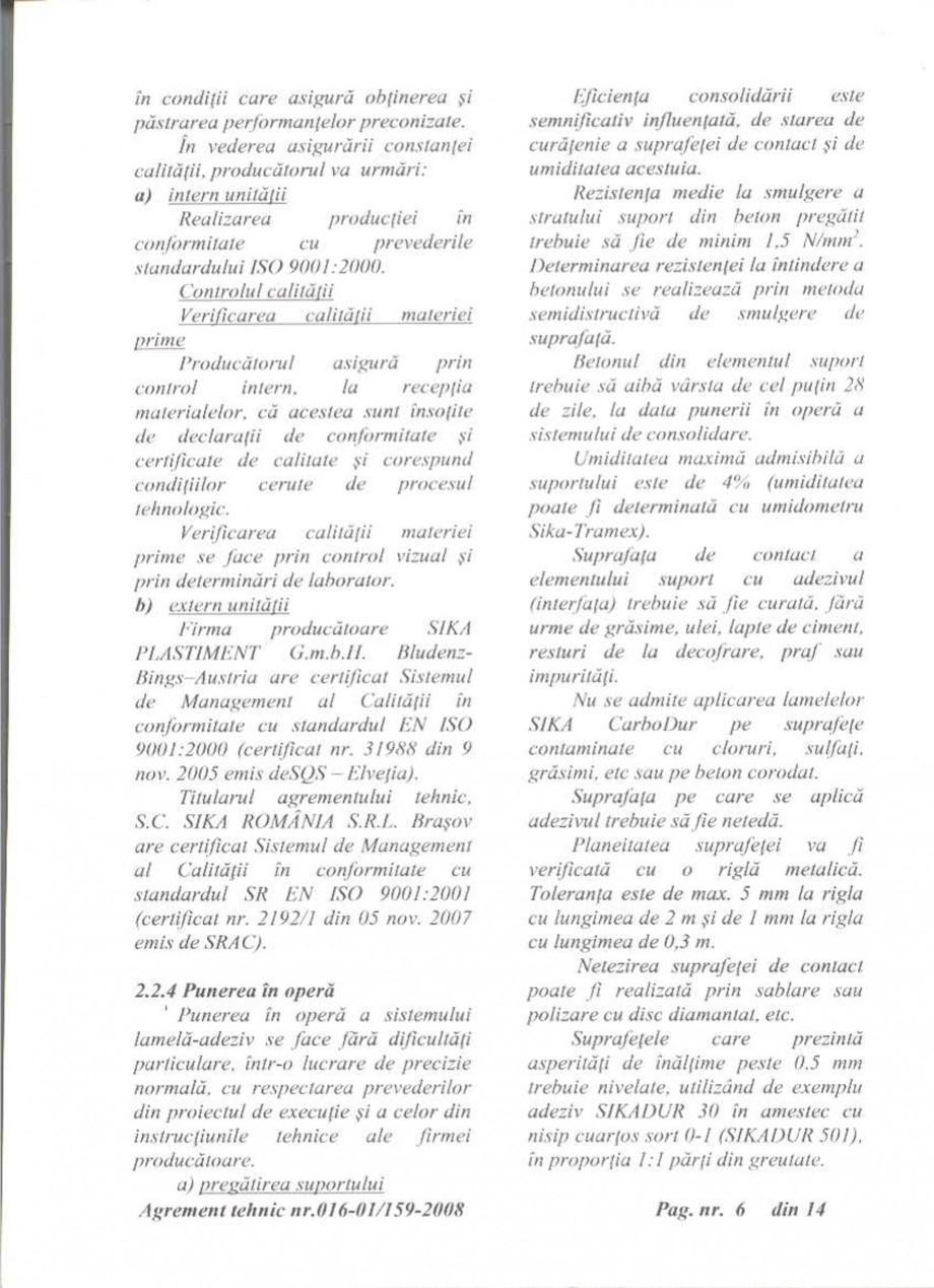 Pagina 7 - Agrement tehnic SIKA Sika® CarboDur® Certificare produs Romana