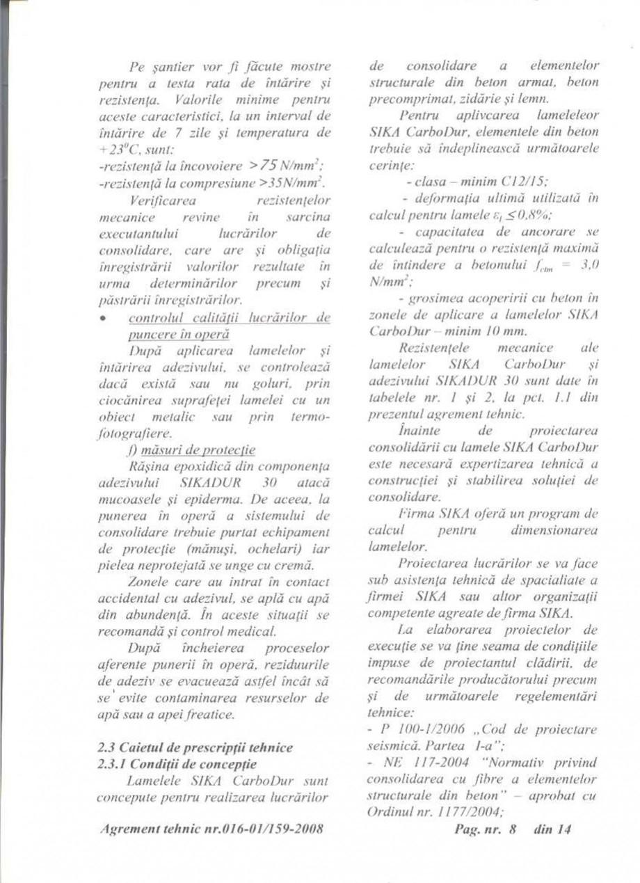 Pagina 9 - Agrement tehnic SIKA Sika® CarboDur® Certificare produs Romana